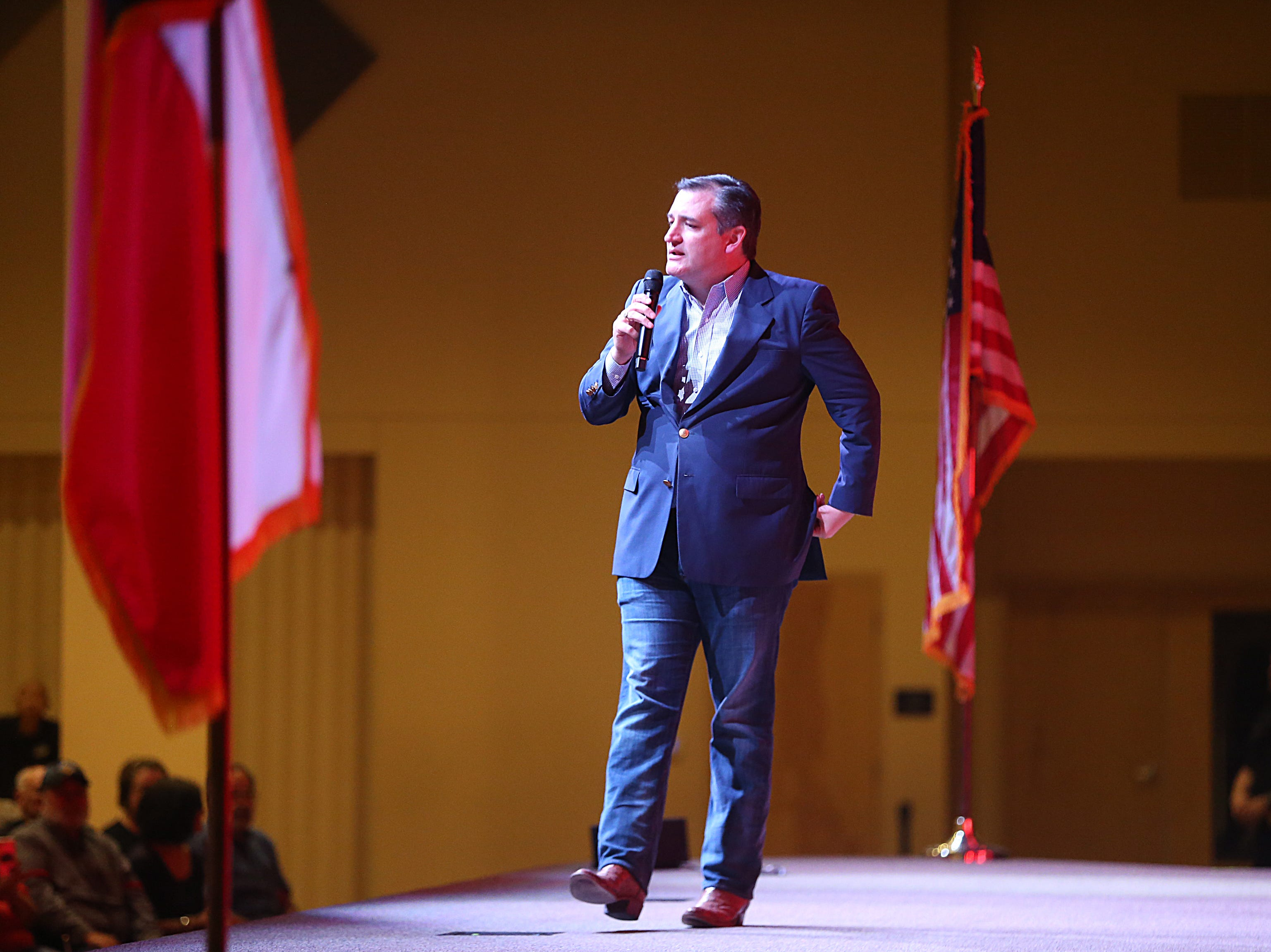 Sen. Ted Cruz talks to supporters Tuesday, Oct. 30, 2018, during his campaign stop at The Life Church in San Angelo.