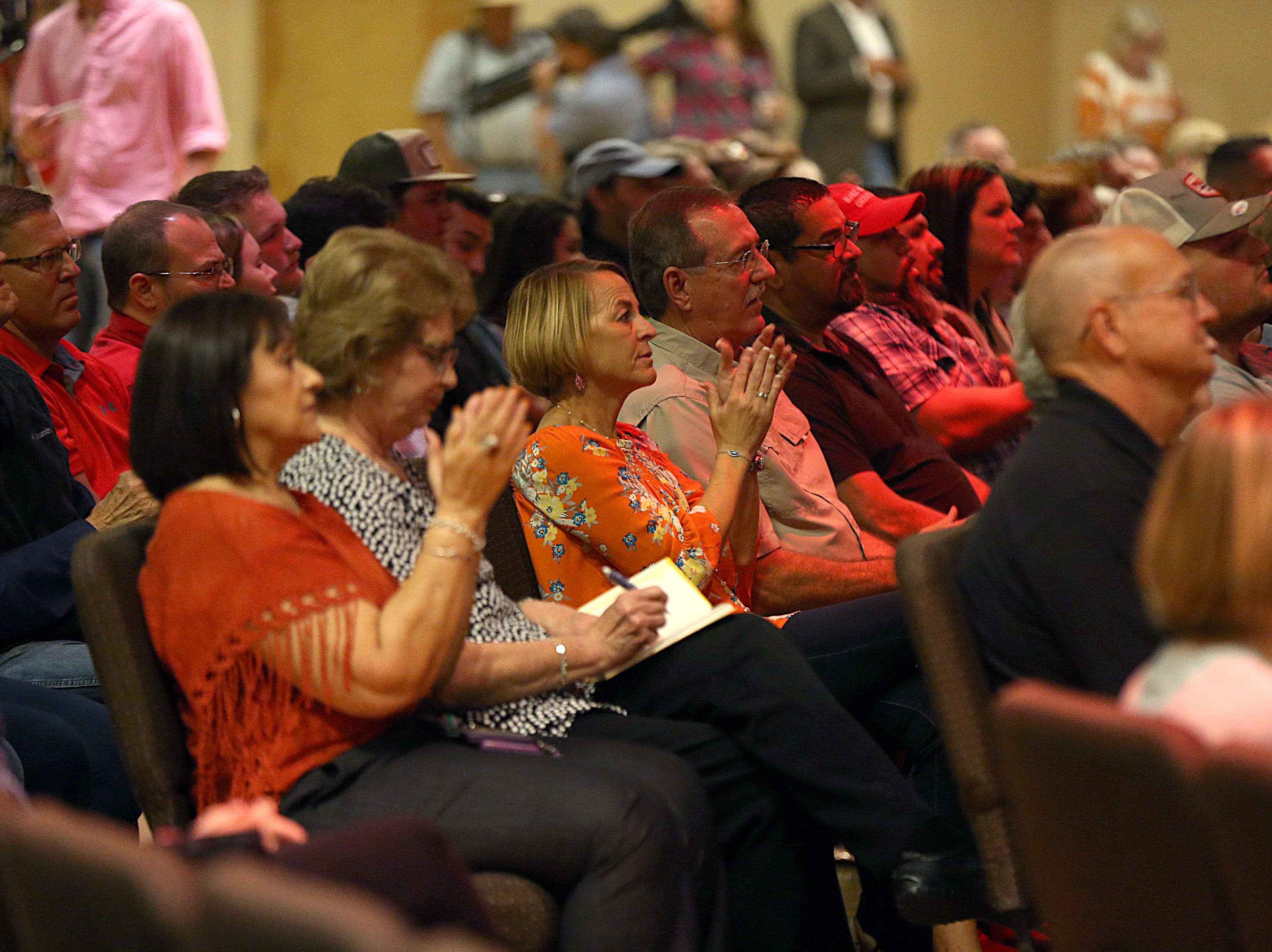Supporters of Sen. Ted Cruz clap during the senator's speech Tuesday, Oct. 30, 2018, during his campaign stop at The Life Church in San Angelo.