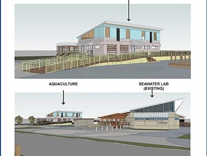 A rendering of the planned aquaculture research laboratory at the Virginia Institute of Marine Science Eastern Shore Lab campus in Wachapreague, Virginia.