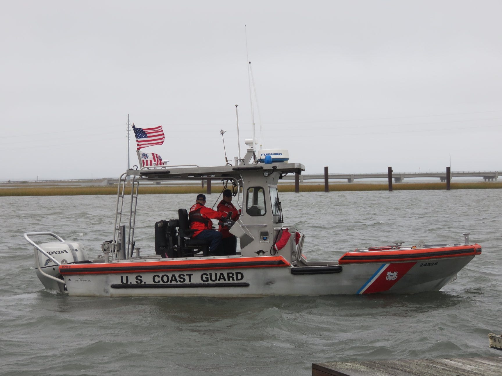 A Coast Guard boat takes part in the Scouts' program on Chincoteague.