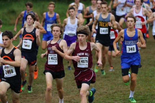 Keegan Gould (4076) participates in the Bull Run Invitational at Hereford High School in September.