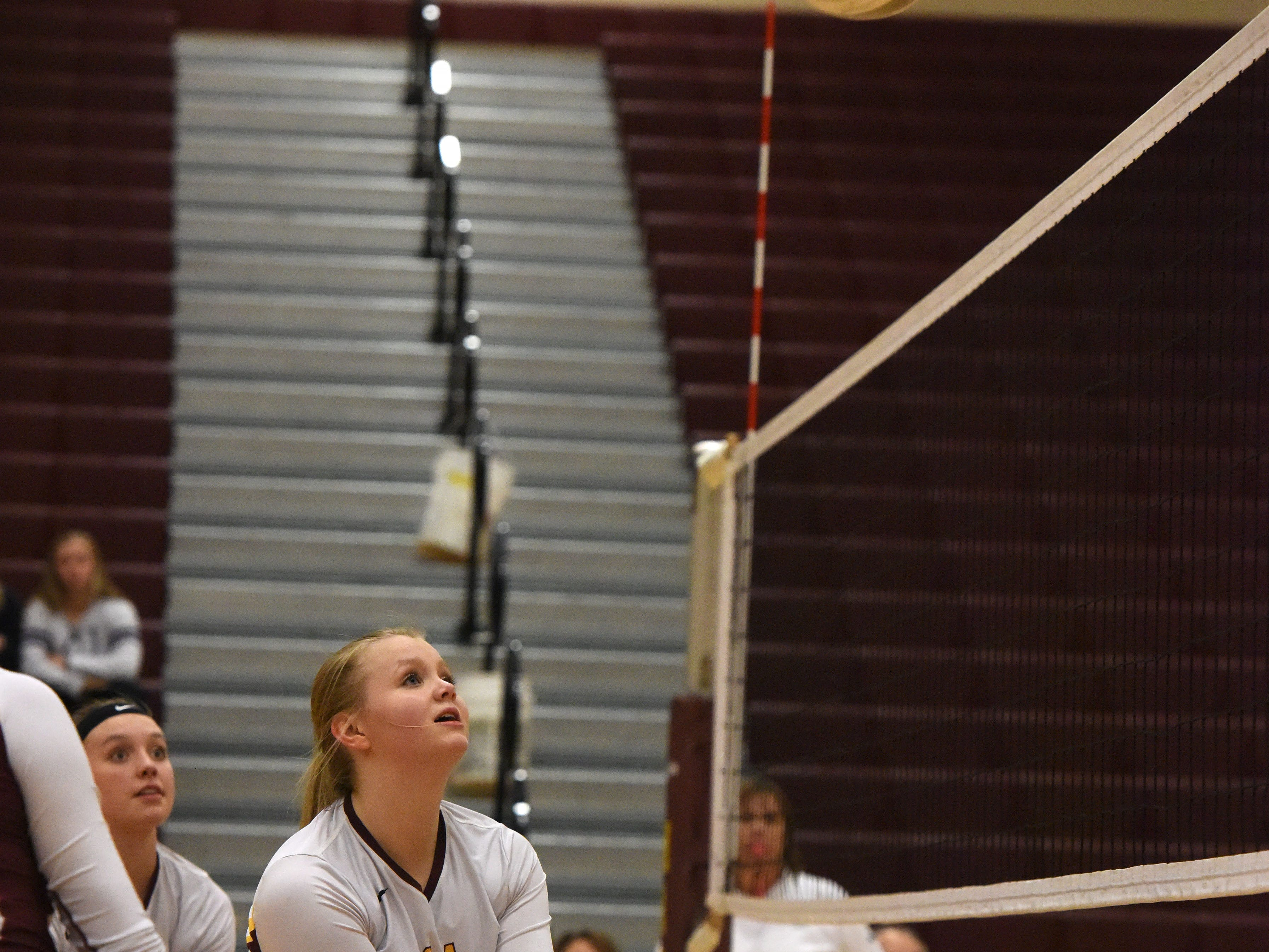 Harrisburg's Kelsey Raue (14) bumps the ball during a match against Brookings Tuesday, Oct. 30, 2018 in Harrisburg, S.D.