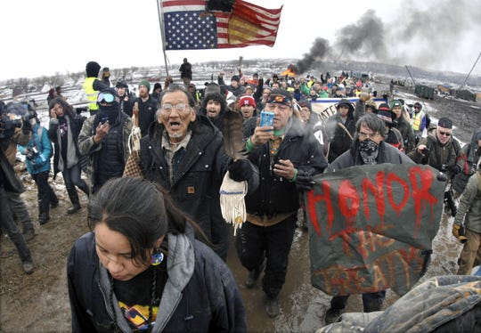 Some South Dakota officials are concerned the state could see protests over construction of the Keystone XL Pipeline in the state next year, not unlike in North Dakota in 2016 when protesters camped for seven months to stall construction of the Dakota Access Pipeline. Protesters eventually were forcibly evacuated on Feb. 22, 2017, shown here.