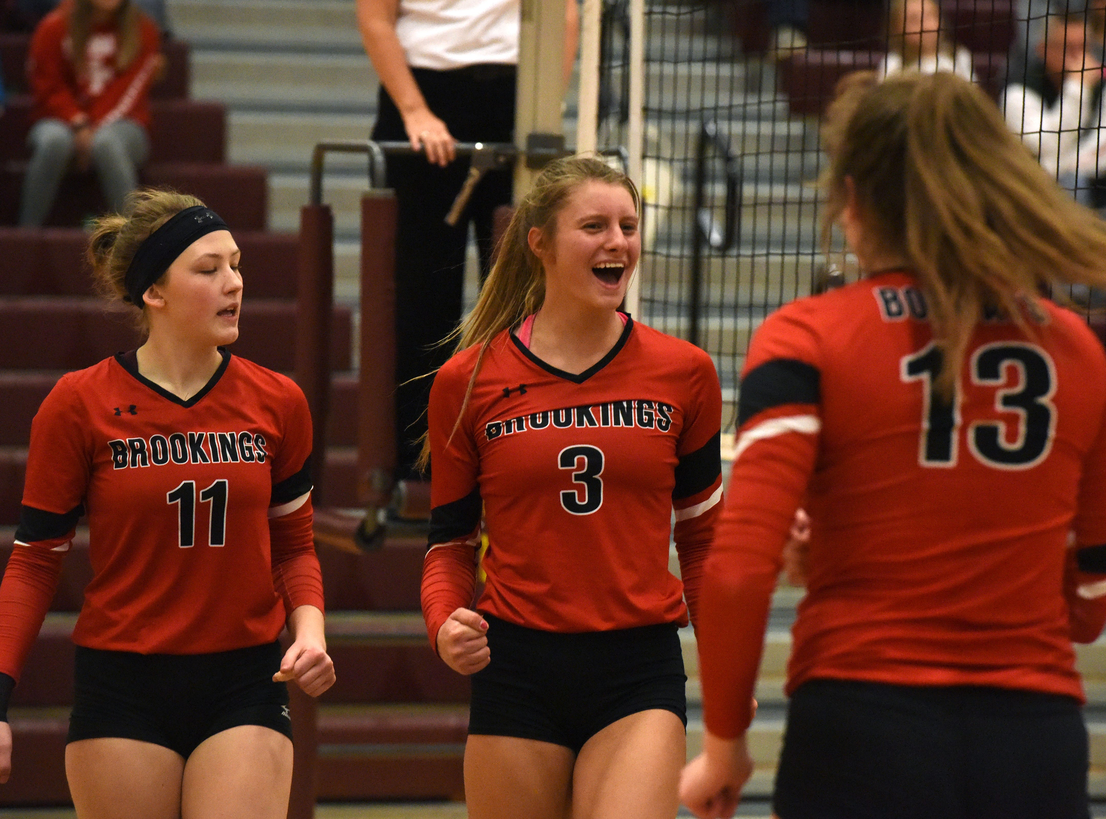 Brookings players react during a match against Harrisburg Tuesday, Oct. 30, 2018 in Harrisburg, S.D.