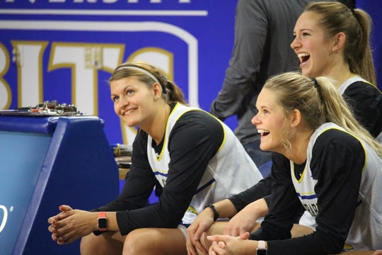 L-R: South Dakota State's Macy Miller, Tylee Irwin and Tagyn Larson