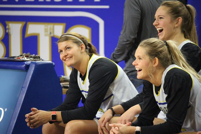 Macy Miller (L), Tylee Irwin and Tagyn Larson have their sights set on a Summit League championship