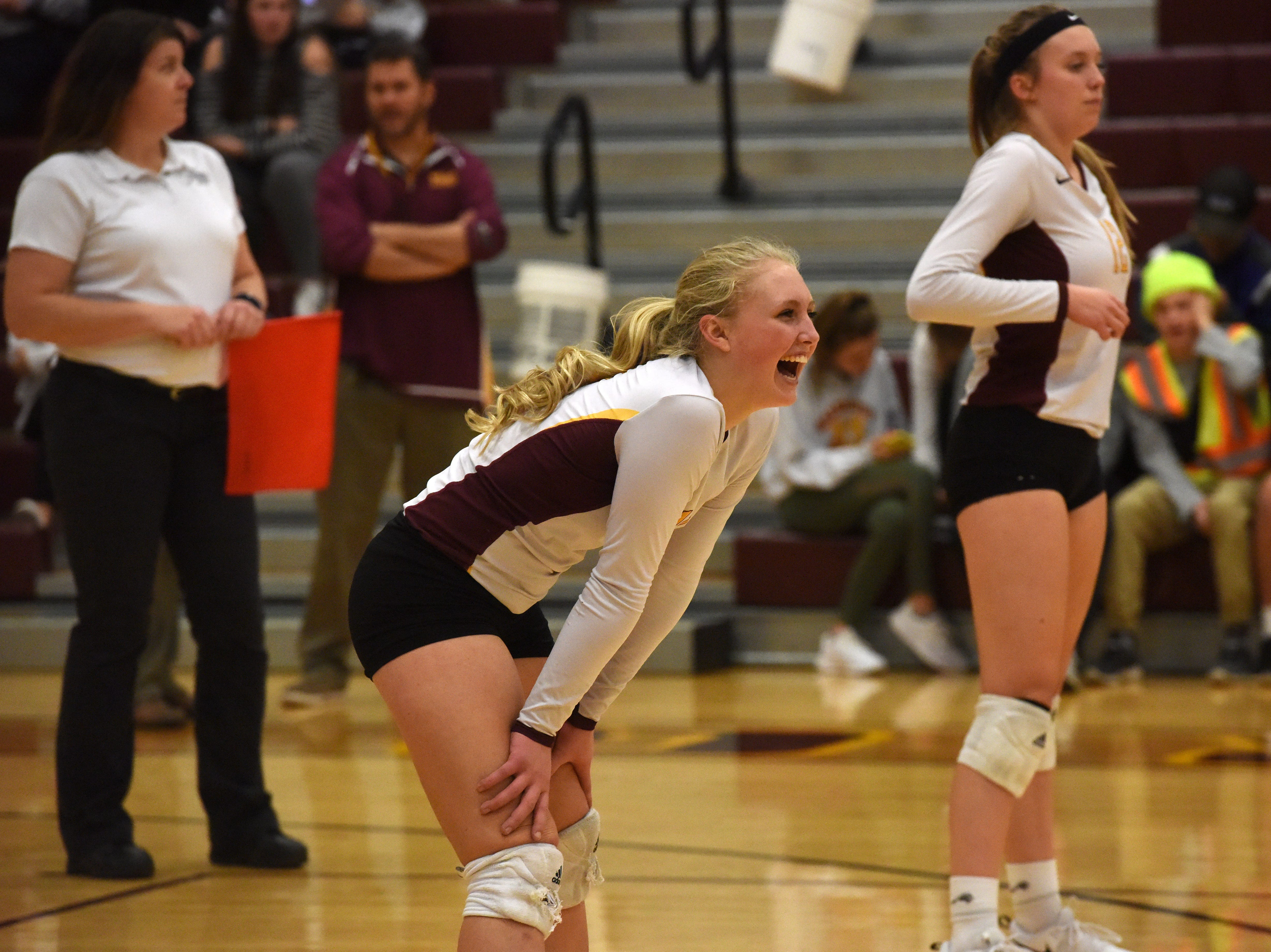 Harrisburg's Abby Meister (11) reacts during a match against Brookings Tuesday, Oct. 30, 2018 in Harrisburg, S.D.