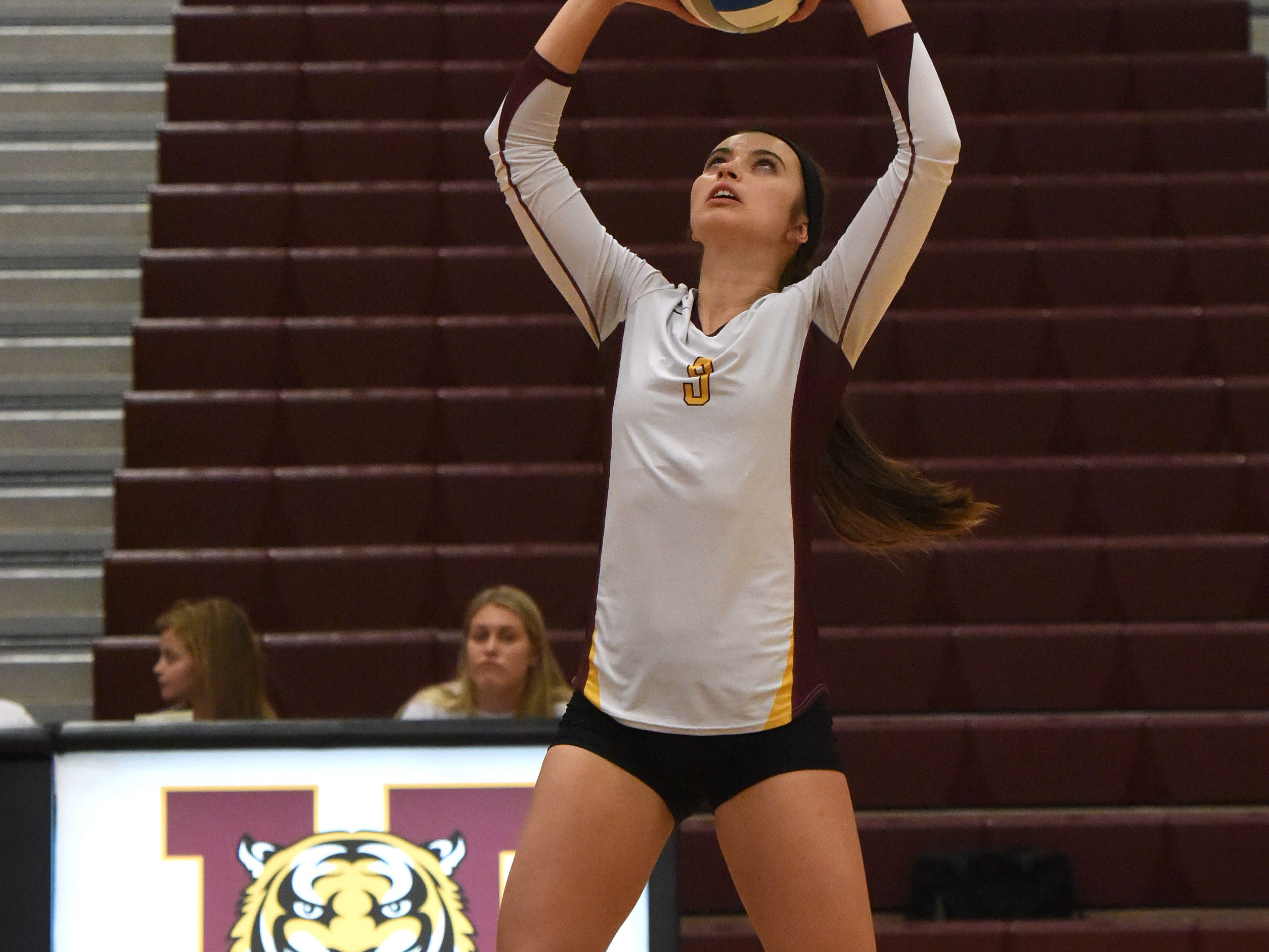 Harrisburg's Julia Sanderson (9) sets the ball during a match against Brookings Tuesday, Oct. 30, 2018 in Harrisburg, S.D.
