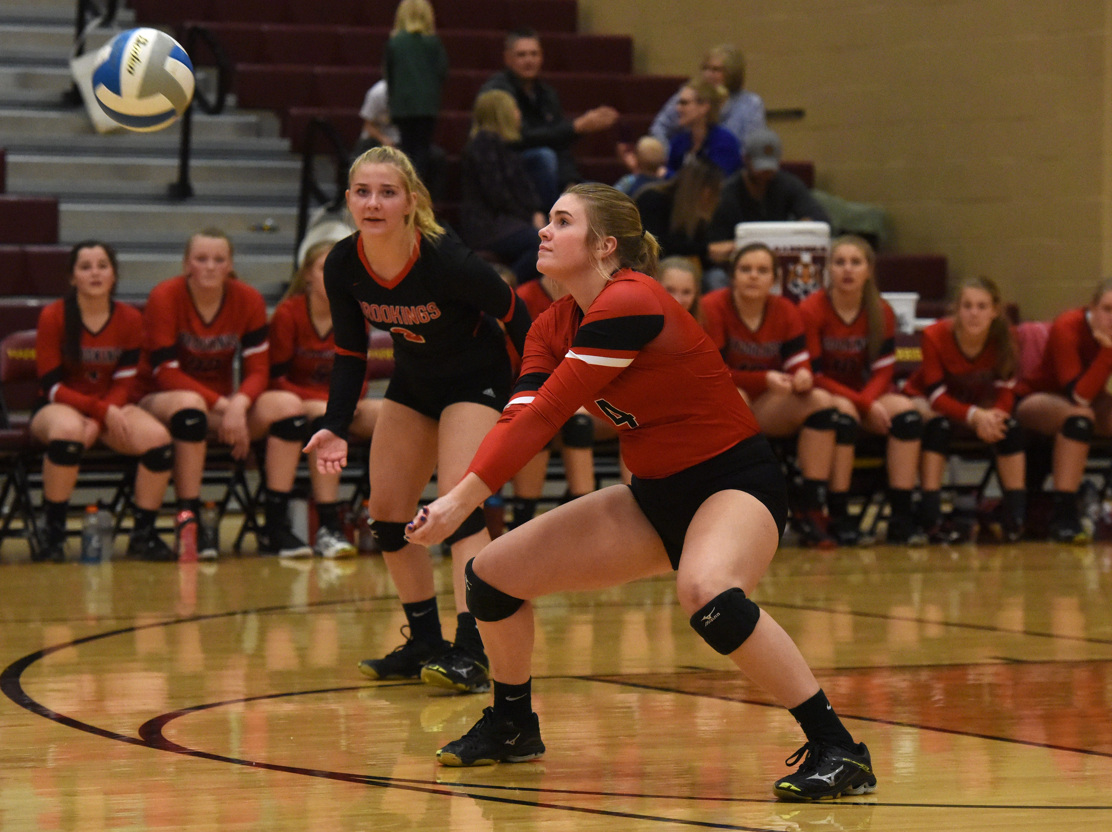 Brookings' All' Gordon (4) bumps the ball during a match against Harrisburg Tuesday, Oct. 30, 2018 in Harrisburg, S.D.