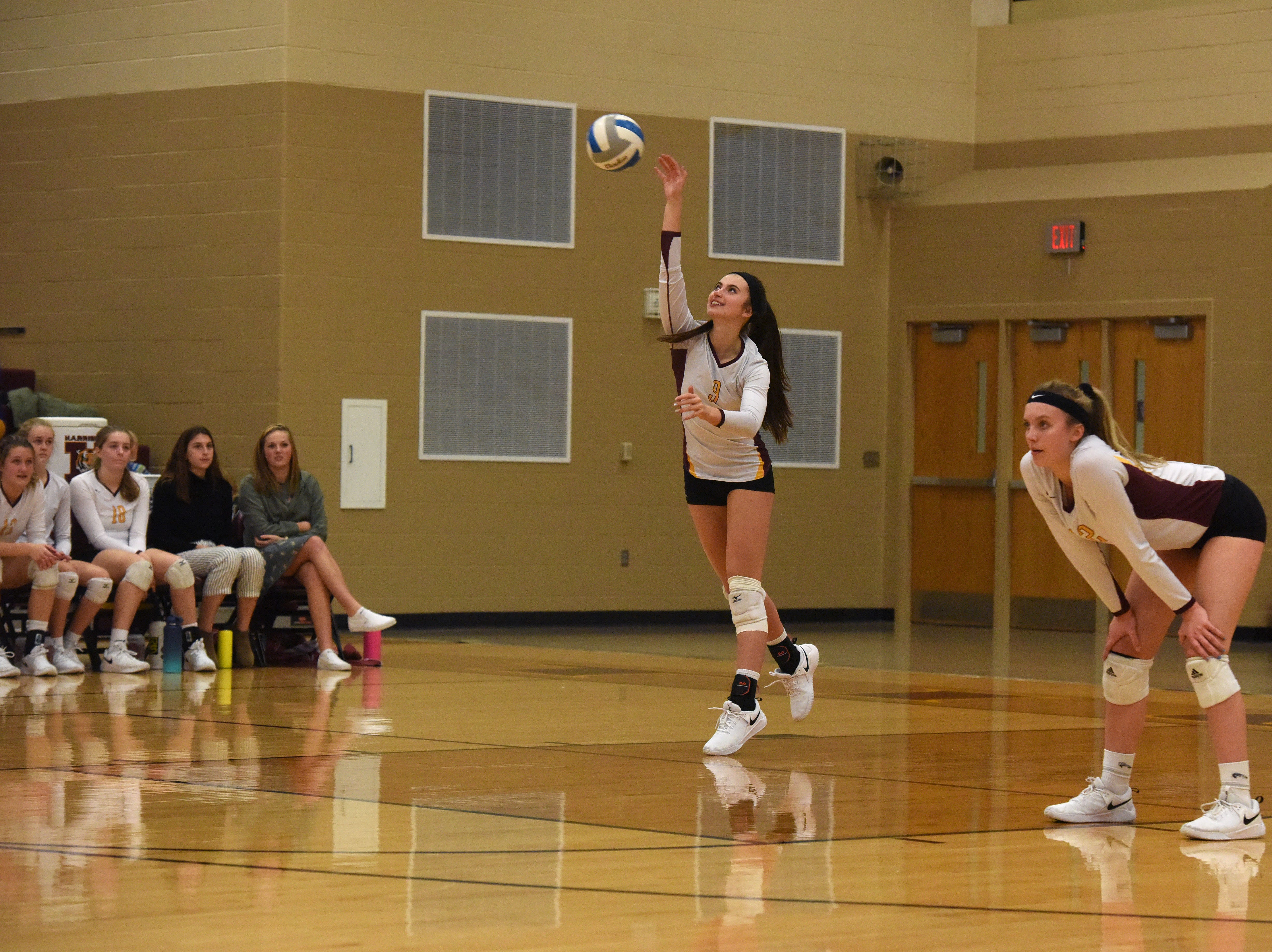 Harrisburg's Julia Sanderson (9) serves the ball during a match against Brookings Tuesday, Oct. 30, 2018 in Harrisburg, S.D.