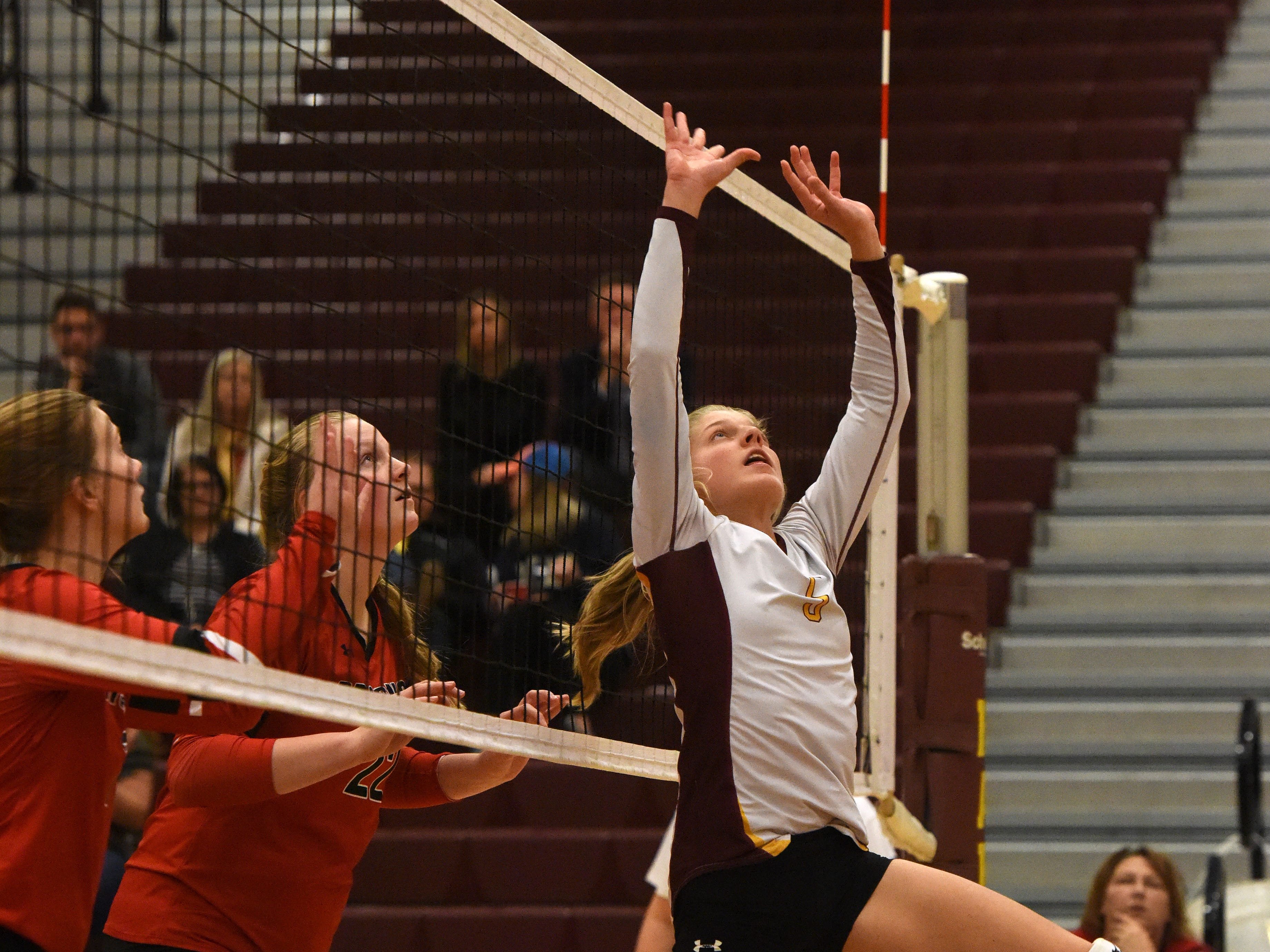 Harrisburg's Liz Dierks (5) bumps the ball during a match against Brookings Tuesday, Oct. 30, 2018 in Harrisburg, S.D.