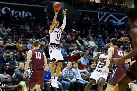 Missouri State senior Jarred Dixon shoots a three-pointer on the Evangel Crusaders at JQH Arena on Tuesday, Oct. 30, 2018.