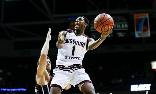 Missouri State junior Keandre Cook drives to the basket during a game against the Evangel Crusaders at JQH Arena on Tuesday, Oct. 30, 2018.