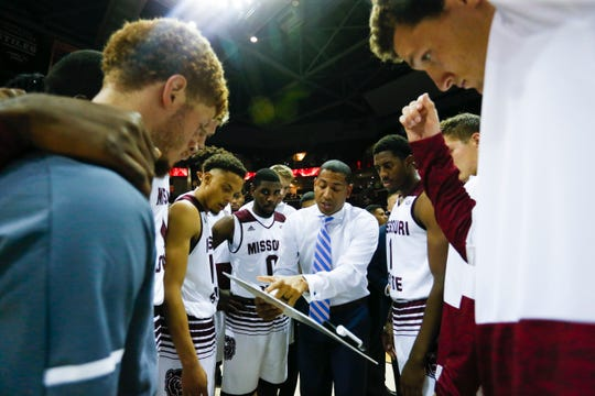 New Missouri State Bears Head Coach Dana Ford huddles with the team before the Bears take on the Evangel Crusaders at JQH Arena on Tuesday, Oct. 30, 2018.