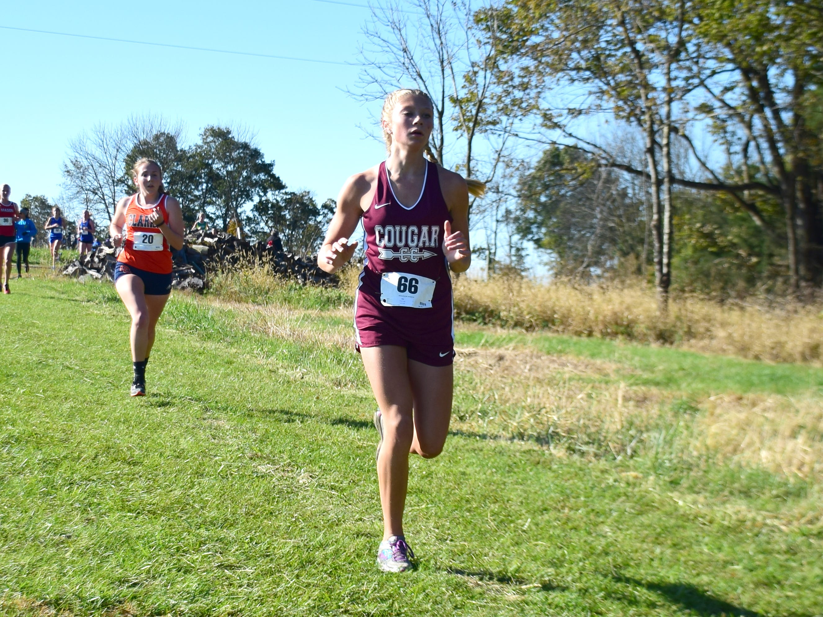 Stuarts Draft's Leah Wood competes in the girls race at the VHSL Class 2, Region B Cross Country Championships on Tuesday, Oct. 30, 2018, at New Market Battlefield Park in New Market, Va.