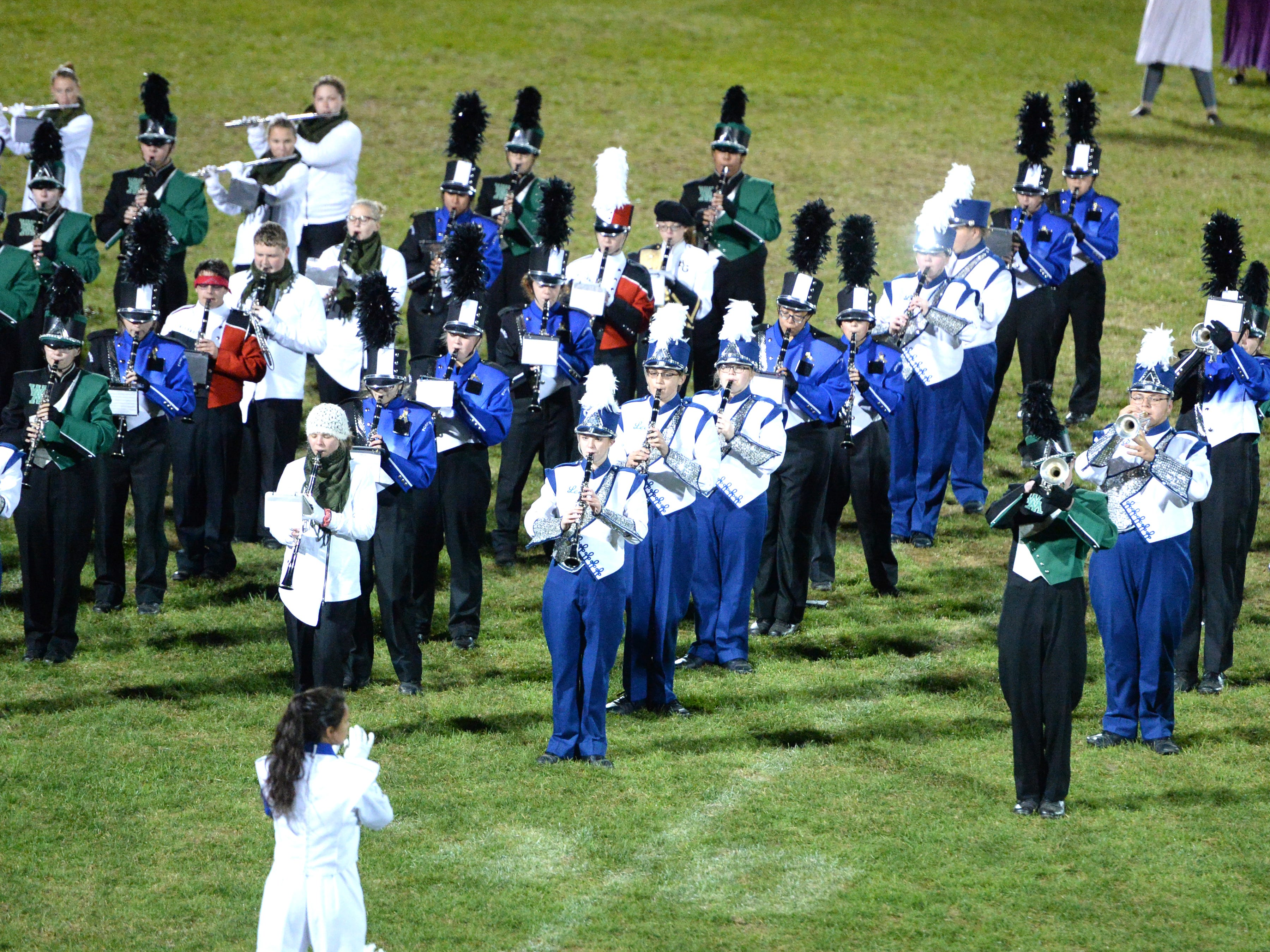 The combined bands of seven area schools played Michael Jackson's Thriller to end Tuesday's Valley Showcase of the Bands at Riverheads High School.
