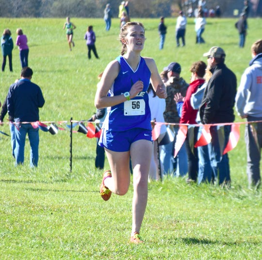 Robert E. Lee's Emily van Assendelft approaches the finish line of the girls race at the VHSL Class 2, Region B Cross Country Championships on Tuesday, Oct. 30, 2018, at New Market Battlefield Park in New Market, Va