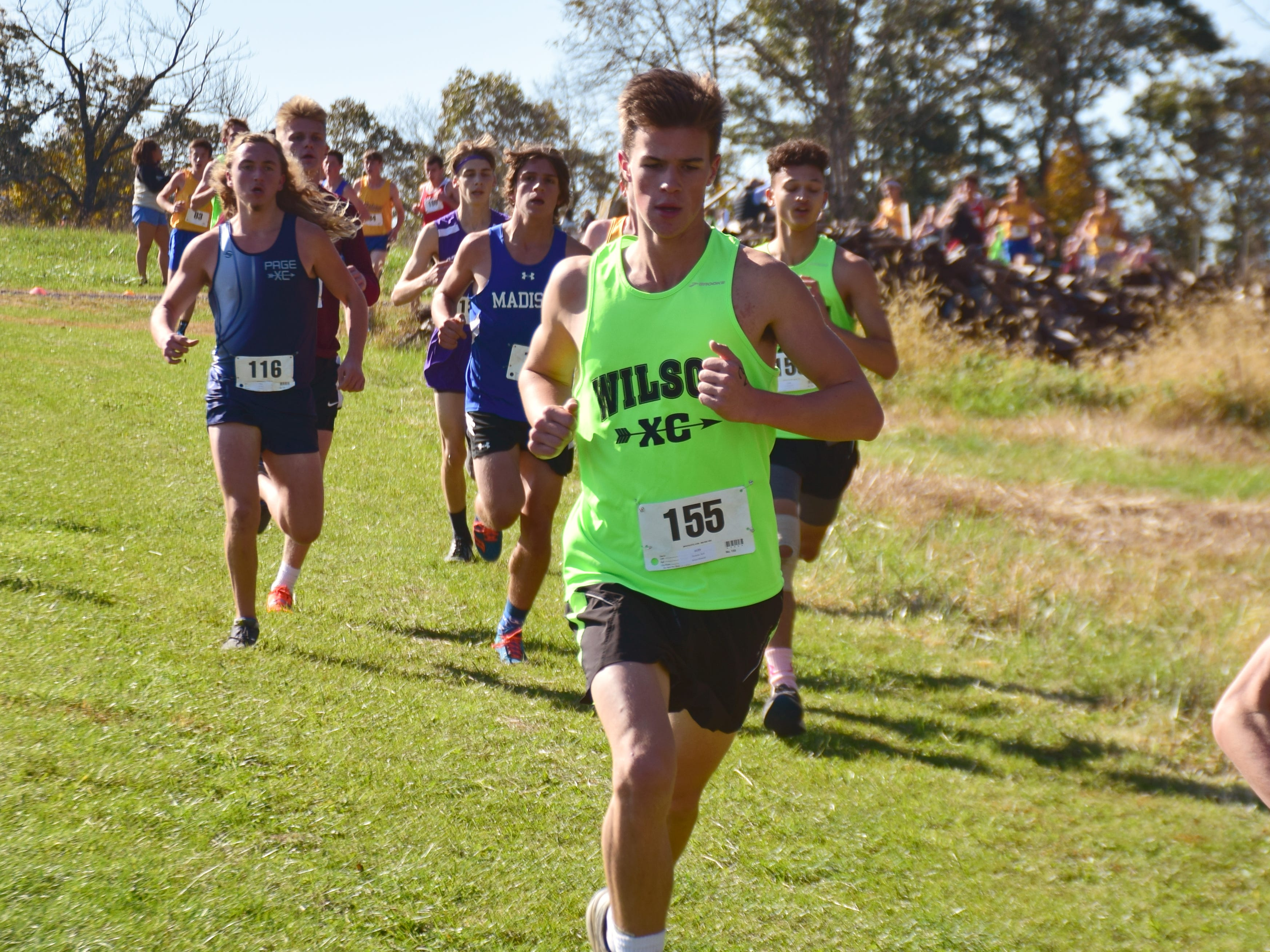 Wilson Memorial's Rafe Shumate competes in the boys race at the VHSL Class 2, Region B Cross Country Championships on Tuesday, Oct. 30, 2018, at New Market Battlefield Park in New Market, Va.