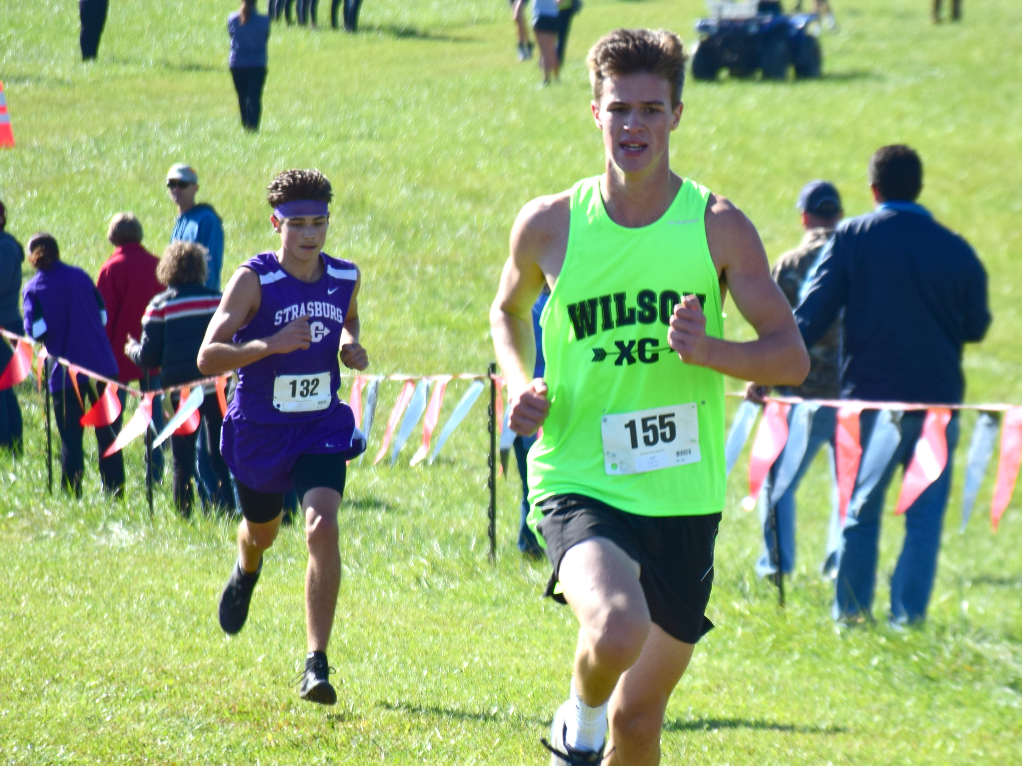 Wilson Memorial's Rafe Shumate approaches the finish line of the boys race at the VHSL Class 2, Region B Cross Country Championships on Tuesday, Oct. 30, 2018, at New Market Battlefield Park in New Market, Va.