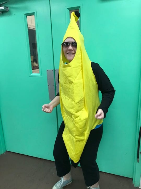 SweetNanaCakes employee Melissa Fitzgerald as a banana.