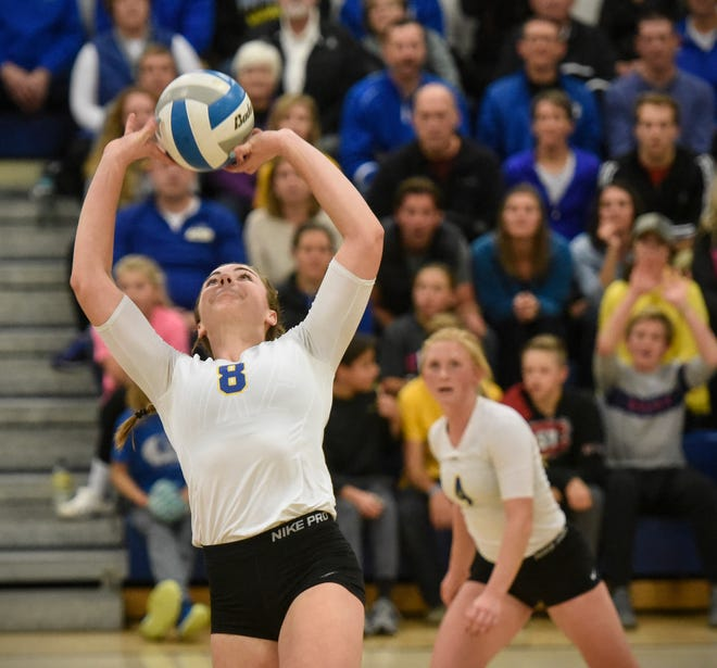Cathedral's Megan Voit concentrates on the ball during the Tuesday, Oct. 30, Section 6-2A volleyball quarterfinals game against Melrose at Cathedral High School in St. Cloud.