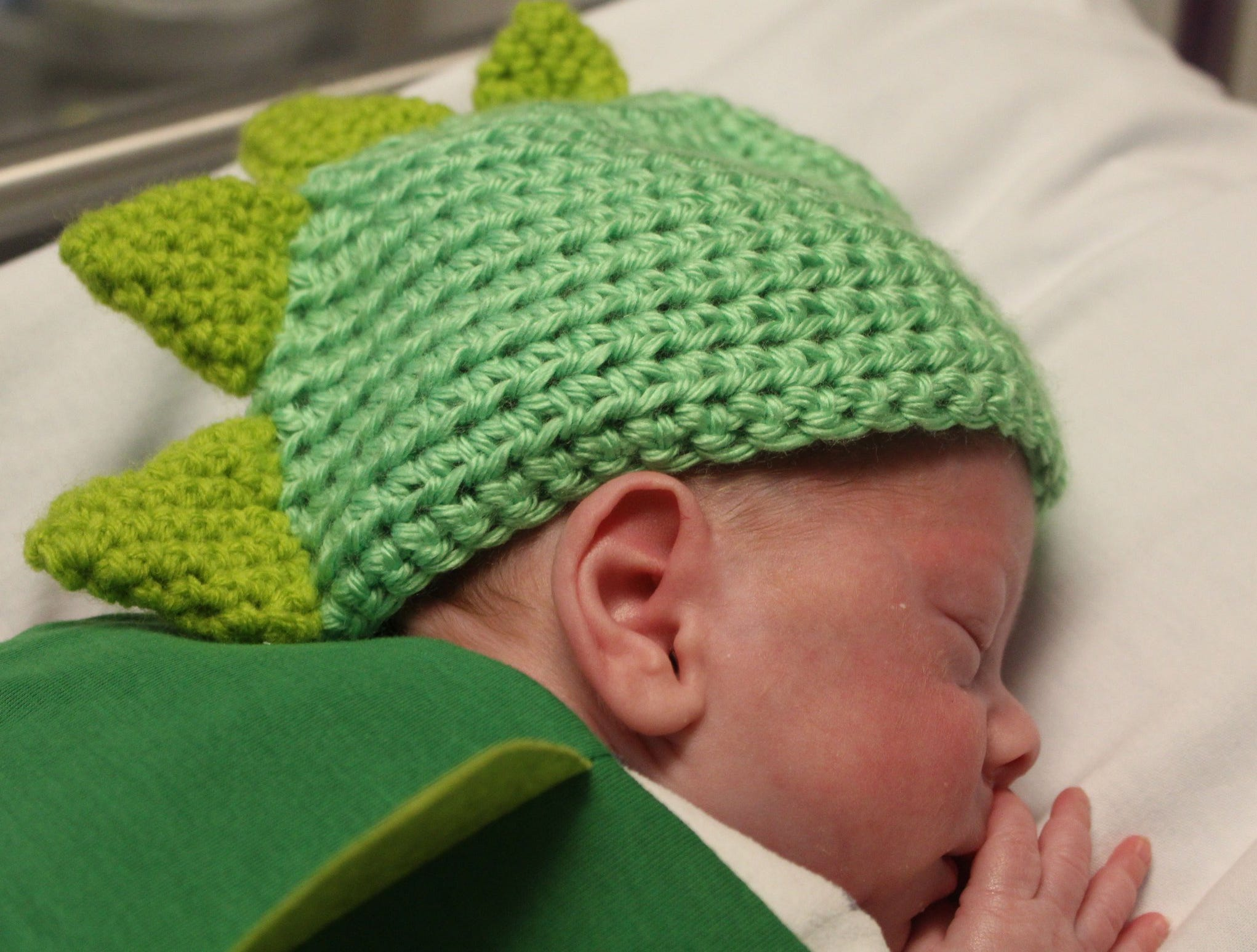 Brecken Thoennes was born Aug. 16. Babies in the Neonatal Intensive Care Unit sported handmade costumes and crocheted hats, donated by volunteers with the March of Dimes on Wednesday, Oct. 31, 2018 at St. Cloud Hospital.