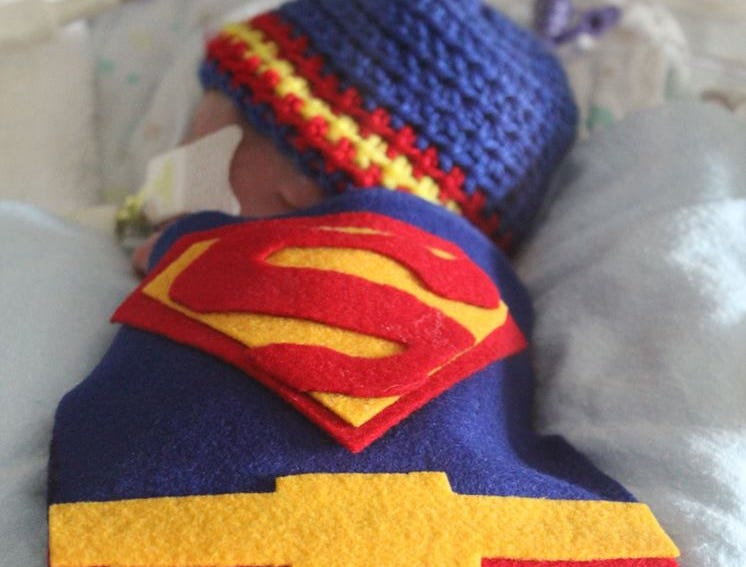 Joshua Johnson was born Sept. 23. Babies in the Neonatal Intensive Care Unit sported handmade costumes and crocheted hats, donated by volunteers with the March of Dimes on Wednesday, Oct. 31, 2018 at St. Cloud Hospital.