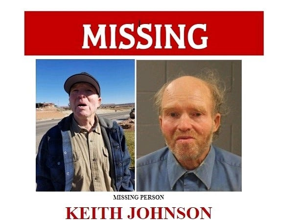 Keith Johnson, 66, was reported missing October 31, 2018.