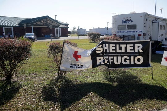 The Honeyville Community Center in Honeyville, Fla. in Gulf County, normally a polling place, is being used as an American Red Cross long term shelter Tuesday, Oct. 30, 2018, for victims of Hurricane Michael, three weeks after the storm devastated Gulf County.