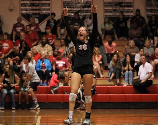 Chiles senior Kelsey Mead celebrates a point as Leon defeated Chiles 3-1 in a Region 1-8A semifinal playoff game on Tuesday, Oct. 30, 2018.