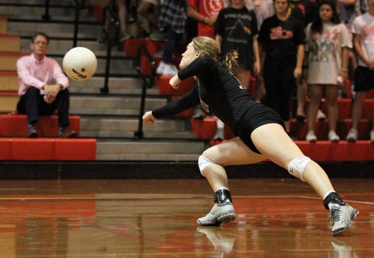 Chiles senior defensive specialist Jessica Roberts dives for a ball as Leon defeated Chiles 3-1 in a Region 1-8A semifinal playoff game on Tuesday, Oct. 30, 2018.