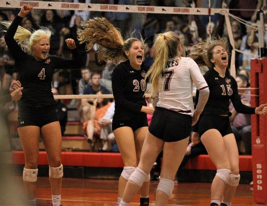 Chiles celebrates a third-set win, but Leon defeated Chiles 3-1 in a Region 1-8A semifinal playoff game on Tuesday, Oct. 30, 2018.