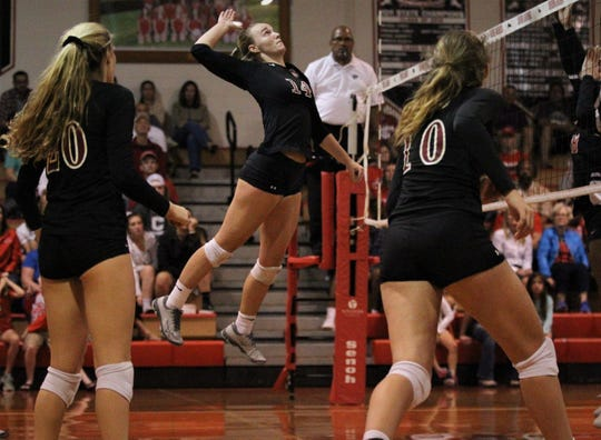 Chiles senior Aly Freeland goes up for a kill as Leon defeated Chiles 3-1 in a Region 1-8A semifinal playoff game on Tuesday, Oct. 30, 2018.