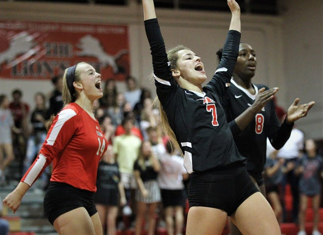 Leon senior Kayleigh Kellogg (7) celebrates a point as Leon defeated Chiles 3-1 in a Region 1-8A semifinal playoff game on Tuesday, Oct. 30, 2018.