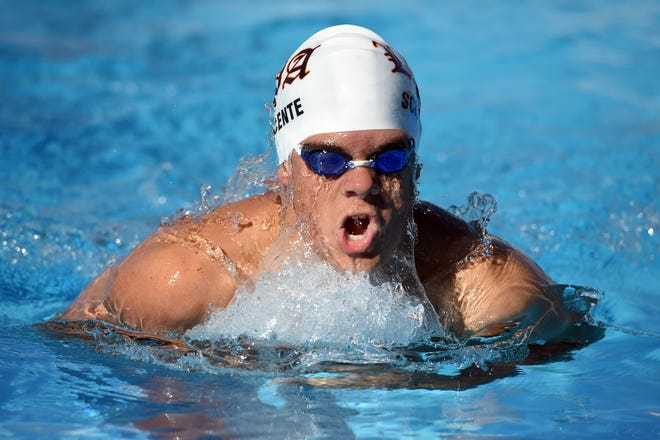 Lincoln Park Academy's Jake Sciscente cuts through the water during the breaststroke leg of the boys 200-yard individual medley on Wednesday, Oct. 31, 2018, at the District 5-2A championship on the campus of Indian River State College in Fort Pierce.