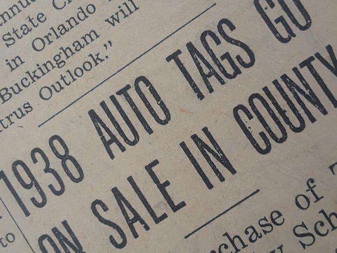 1938 auto tags go on sale.