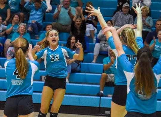 Jensen Beach High School's volleyball team celebrates a point during the Region 4-7A semifinal match on Oct. 30, 2018. Jensen Beach is one of 17 schools to receive the FHSAA's sportsmanship award for the 2018-19 school year.