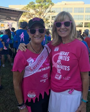 Janie Copes, left, and Libby Crosswhite at the Making Strides Against Breast Cancer walk in Stuart on Oct. 27, 2018.