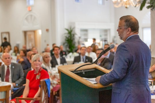 Guest speaker Tony Carvajal, executive vice president of the Florida Chamber of Commerce Foundation, speaks to attendees of the United Way of Indian River County's Community Leaders Breakfast on Oct.16 at Oak Harbor.