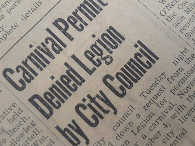 City Council turned down a request from the American Legion for permission to sponsor a carnival in 1948.