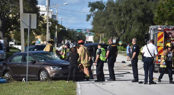 A car crash Wednesday, Oct. 31, 2018, at 18th Street and 6th Avenue in Vero Beach sent three people to the hospital.