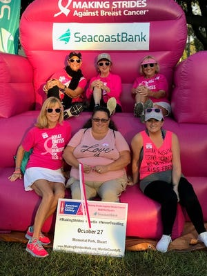 Bottom row, from left, Libby Crosswhite, Barbara Forenza, LIsa Forenza, with top row, Janie Copes, Sue Riodan, Sharon Coffey at the 2018 Making Strides Against Breast Cancer Walk in Stuart.