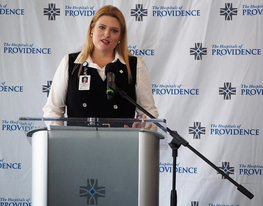 Allie Lozano, CEO of The Hospitals of Providence's microhospitals, talks at an Oct. 30 ribbon-cutting ceremony for its new, Northeast El Paso microhospital, which opens Nov. 1.