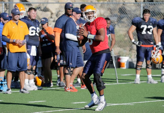 Third-string UTEP quarterback Brandon Jones, showing during practice at Glory Field, could get a chance at ending the Miners' losing streak Saturday against Rice due to injuries suffered by the other quarterbacks.