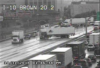A semi-truck crashed in rainy weather Wednesday afternoon on Interstate 10 East near Downtown El Paso.