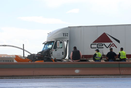 A jackknifed tractor-trailerWednesday afternoonblocked traffic onInterstate 10 eastbound near Downtown El Paso. The accident occurred during rainy weather at about 1:30 p.m. on I-10 East near Brown Street, according to the Texas Department of Transportation website.