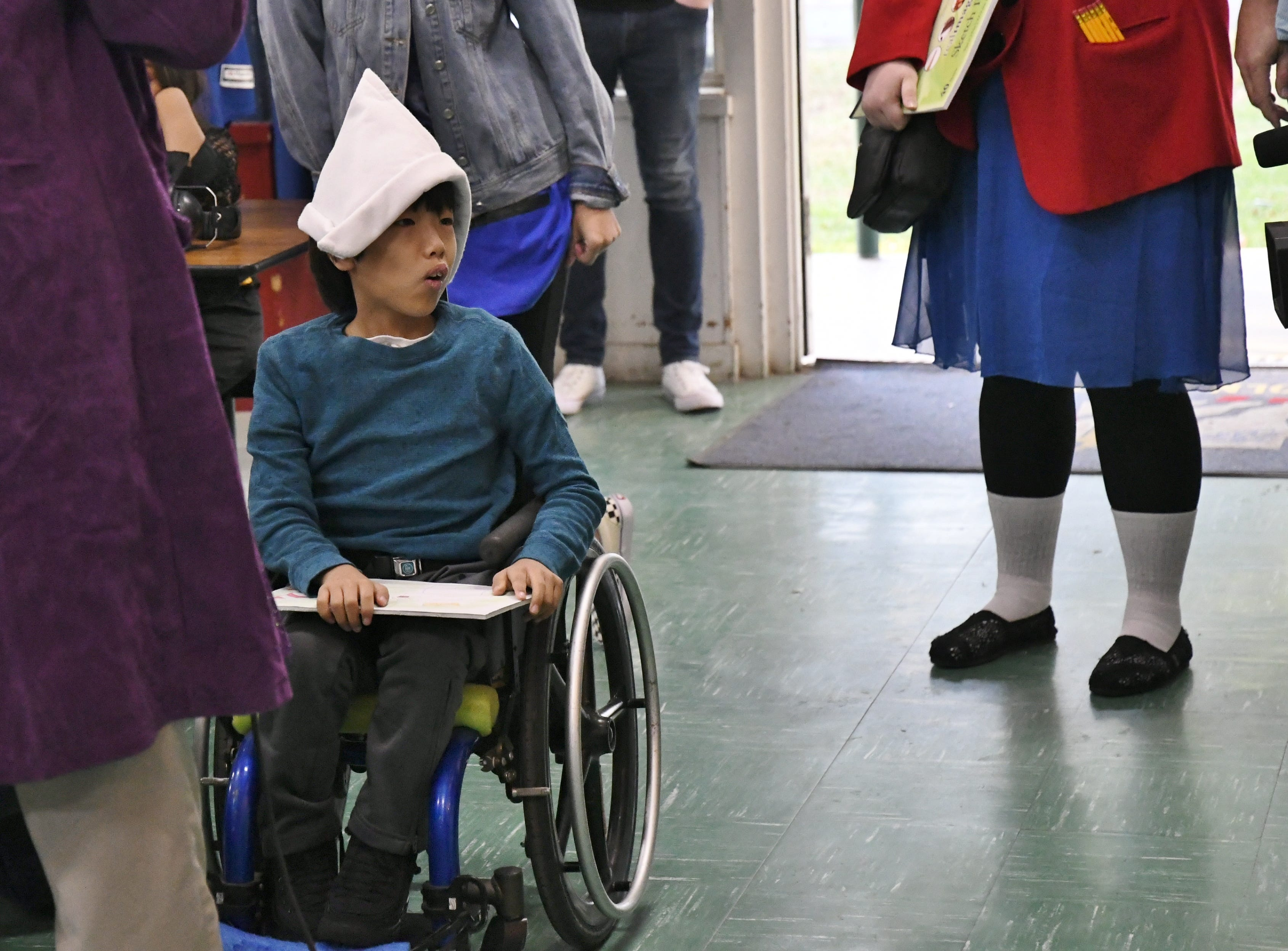 Ryker Dunn, a third-grader, at Lincoln Elementary School in Kingsburg, was given a custom-made Halloween costume by students at El Diamante High School.