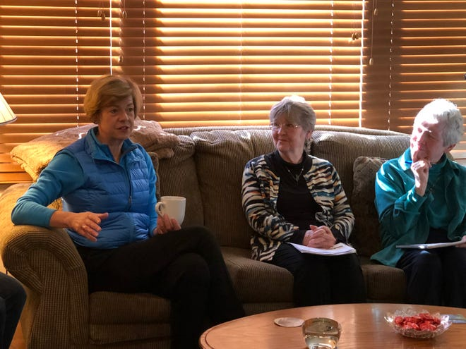U.S. Senator Tammy Baldwin meets with volunteers and supporters at the home of Wausau residents Rita and Milt Pachal.