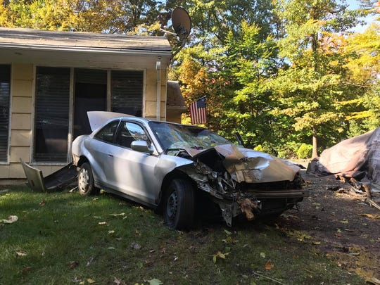 A driver crashed into a home on Crooked Hill Road in Chestnut Ridge on Wednesday.