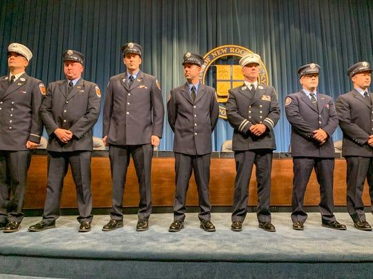 (left to right) New Rochelle Fire Lt. Eric Auletta, Firefighter Michael Kirkpatrick, Firefighter James Manning, Firefighter Christopher Tortorella, Captain Donald Bradley, Firefighter Anthony Costa and Firefighter Thomas Hensler.